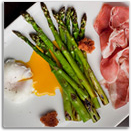 Grilled Asparagus with Prosciutto, Fried Bread, Poached Egg, and Aged Balsamic Vinegar